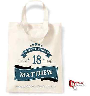 PERSONALISED 18th Birthday Gift Cotton Tote Bag Banner Design