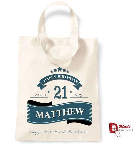 PERSONALISED 21st Birthday Gift Cotton Tote Bag Banner Design