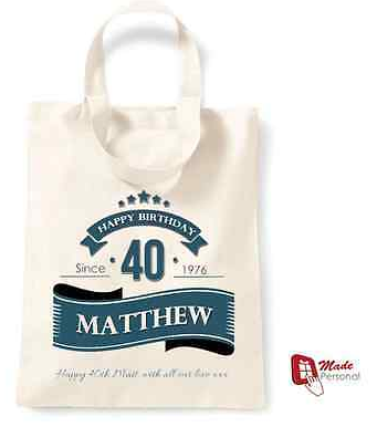 PERSONALISED 40th Birthday Gift Cotton Tote Bag Banner Design