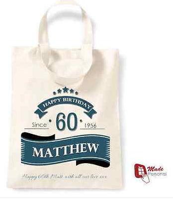 PERSONALISED 60th Birthday Gift Cotton Tote Bag Banner Design