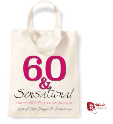 PERSONALISED 60th Birthday Gift Cotton Tote Bag 60 Sensational