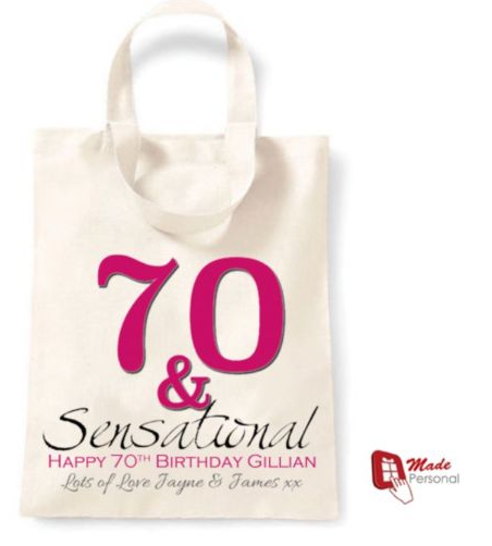 PERSONALISED 70th Birthday Gift Cotton Tote Bag 70 Sensational
