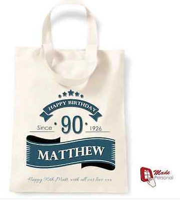 PERSONALISED 90th Birthday Gift Cotton Tote Bag Banner Design