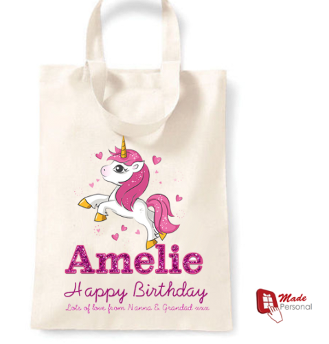 PERSONALISED Cotton Birthday Tote Bag Gift Unicorn Design