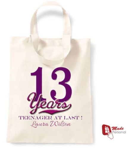 PERSONALISED 13th Birthday Gift Cotton Tote Bag Teenager At Last