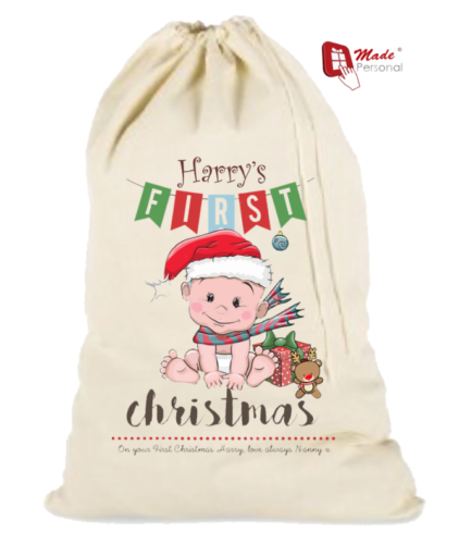 PERSONALISED CHRISTMAS SANTA SACK – Baby s First Christmas 934d08d24