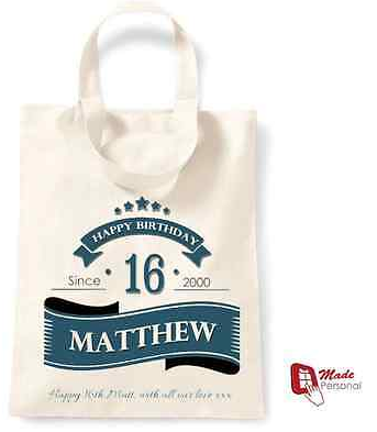 PERSONALISED 16th Birthday Gift Cotton Tote Bag Banner Design