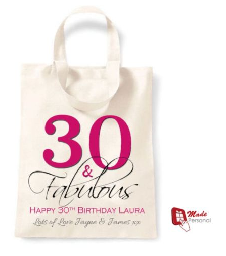 PERSONALISED 30th Birthday Gift Cotton Tote Bag 30 Fabulous